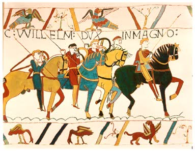 Detail from the Bayeux Tapesty, depicting the Roman Invasion of England in 1066.